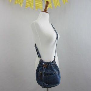 Vintage 90's Denim Crossbody Bucket Bag *I18